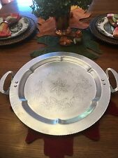 """LARGE VINTAGE LEHMAN HAND FORGED ALUMINUM SERVING TRAY WITH FLORAL MOTIF 18.5"""""""