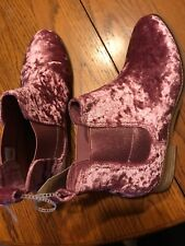 NEW Pink TOMS Women's ELLA Ankle BOOTS Booties Shoes In FADED ROSE VELVET sz 7