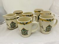 Thompson Pottery Set Of 6 Birdhouse Tea Coffee Cup Mugs Birds Hearts Creamer