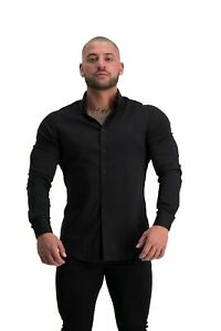 ADONIS.GEAR- MUSCLE FIT, BUTTON UP SHIRT, ULTRA STRETCH (BLACK), LONG SLEEVE