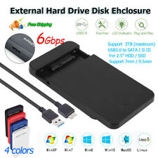 "2.5"" External Hard Drive Disk Enclosure USB 3.0 to SATA HDD SSD UASP Case 6Gbps"