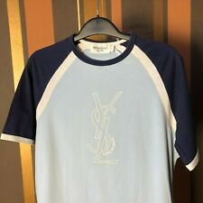 Yves Saint Laurent T-shirt Big Logo Blue YSL size Small, VLD