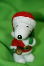 Peanuts Snoopy Ornament/Figurine Santa Snoopy Holding Sack Of Presents & Bell