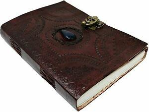 Leather Journal with blue stone Writing Pad Blank Notebook Handmade (10 Inch)