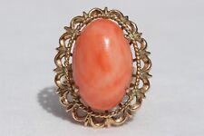 Old Vintage Solid 14k Rose Gold Angel Skin Pink Coral Cocktail Ring Size 5