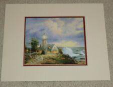 "Thomas Kinkade Print Beacon of Hope Lighthouse Sea with Mat 11"" x 14"""