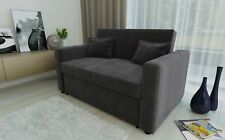 2 Seat Sofa Bed Charcoal Fabric Click Clack Pull Out Living Room Sofabed Seater