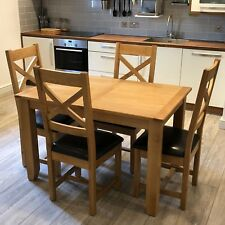 Oak Extendable Dining Table With 4 Chairs / Large Extending Dinner Table Harvard