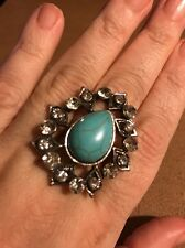VINTAGE SOUTHWESTERN TEARDROP SHAPED W/CZ's RING-ADJUSTS TO FIT ALL RING SIZES !