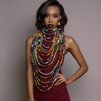 African Necklace Ankara Beautiful Multi Strand Handmade For Women Special Attire