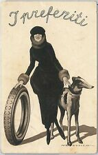 CARTOLINA d'Epoca - PUBBLICITARIA :  DUDOVICH - PNEUMATICI 1924