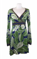 Boden Jersey Dress / Tunic Top Leaf Pattern Green Cotton Womens 10