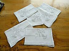 Linge ancien 6 Serviettes  lin , broderies ,monogramme LM ?  ( 57 x 70 cms )