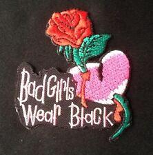 BAD GIRLS WEAR BLACK RED ROSE MOTORCYCLE LADY BIKER BIKE BADGE IRON SEW ON PATCH