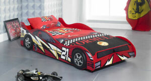 NEW SINGLE 3FT KIDS RED CAR BED  + MATTRESS BOYS & GIRLS CHILDREN'S NOVELTY