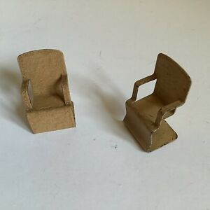 Two Vintage 1:16 Scale Dolls House Modernist Metal Chairs (perhaps Jacqueline?)