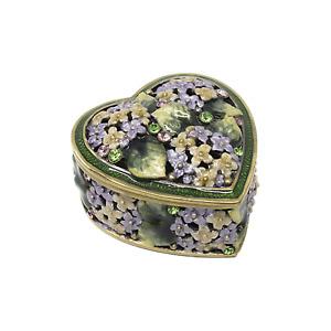 Bejeweled Enameled Jewelry Trinket Box. Heart Shaped with Rhinestones design.