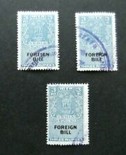 India-Revenue-3 x 3 Rupee Foreign Bill stamps-Used