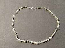 VINTAGE 14K WHITE GOLD CLASP GRADUATED PEARLS DAINTY CHOKER NECKLACE (C)