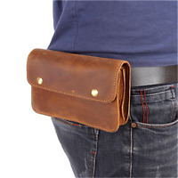 Men Vintage Genuine Leather Brown Belt Waist Bag Cowhide Mobile Phone Waist Pack
