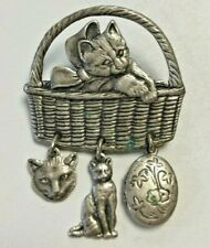 Vintage Cat In Basket Brooch Pin ANTIQUED SILVER TONE Hanging Charms Locket