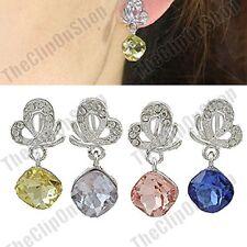 CLIP ON crystal drops  ELEGANT BUTTERFLY EARRINGS silver rhinestone RETRO STYLE