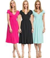 Damen Mittellanges Kleid Dress Abendkleid V-Ausschnitt mit Raffungen Gr. S M L X