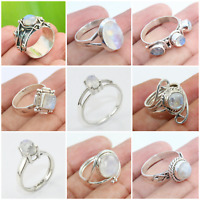 925 SOLID STERLING SILVER HANDMADE JEWELRY RING IN RAINBOW MOONSTONE SIZE 6-10