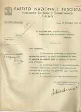 Lettera Autografa del Marchese Niccolò Antinori PNF Fasci di Combattimento