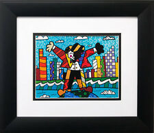 "Romero Britto ""On Top of the World "" NEWLY CUSTOM FRAMED Pop Art Print Cityscape"