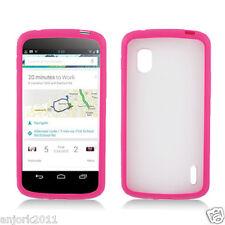 LG Nexus 4 E960 Google Phone Hybrid Gummy Case TPU Cover Accessory Clear Pink