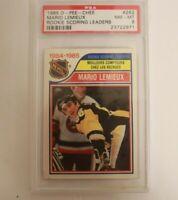 1985 OPC O PEE CHEE #262 Mario Lemieux Rookie Leader PSA 8 NM-MINT Penguins
