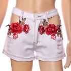 Fashion Women Floral Embroidery High Waist Denim Jeans Beach Pants Casual Shorts