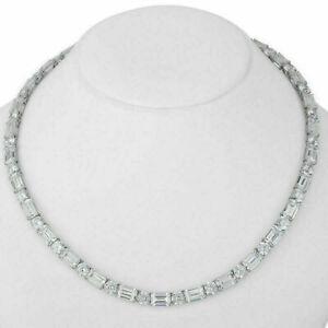 "32.00Ct VVS1/D Emerald&Round Cut Diamond Tennis Necklace 16"" 14K White Gold Over"