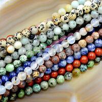 Natural Gemstones 8mm Round Loose Beads 15'' ~ 16'' Pick Stone
