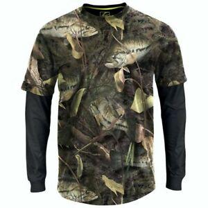 BRAND NEW Fishouflage Bass Fishing Long Sleeve Men's T-Shirt, Camouflage Size XL