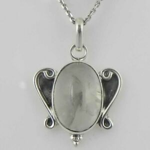 """925 Sterling Silver Moonstone Handmade Necklace 18"""" Chain Festive Gift PS-2003"""