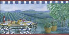 ITALIAN LANDSCAPE OUTDOOR PATIO WITH WINE AND BREAD  WALLPAPER BORDER