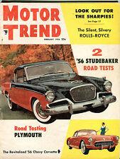 Motor Trend Magazine February 1956 2 '56 Studebaker Road Tests VG 041416jhe