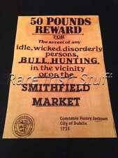 1735 No Bull Hunting In Smithfield Market, Dublin, Ireland Advertising Print