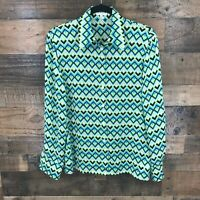 Escada Women's Multicolor Chevron Pattern 100% Silk Long Sleeve Button Up Blouse