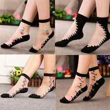 Lady Crystal Sock Sheer Thin Mesh Ice Silk Black Lace Ankle Flower Hosiery Sock