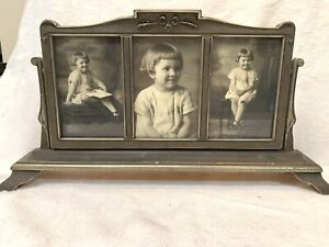 VINTAGE TRIPLE PICTURE FRAME SWIVEL SWING  STANDING LITLLE GIRL PHOTOS GRAY