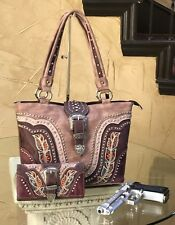 Westren Montana West Buckle Collection Tote Bag With Wallet Set burgundy