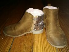 Toddler Girls Size 11 Brown Suade Sequined Zip Boots