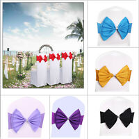 1 10 50 100 Spandex Lycra Sashes Chair Cover Bow Sash BOW BOWS Wedding Party Hot