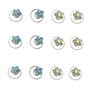 6 Wedding Hair Pins Diamante Crystal Bridal Flower Swirl Silver Gold Accessories