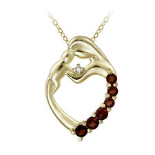 18K Gold over Silver & Diamond Accent Mother and Baby Heart Necklace, 18""