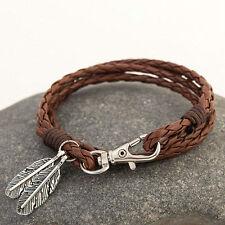 Vintage Leather Wrap Braided Wristband Cuff Punk Men Women Bangle Bracelet