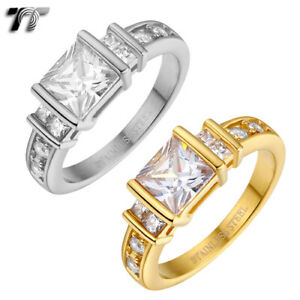 Stunning TT Silver/Gold S.Steel 1 Ct Square CZ Engagement Wedding Ring (R348)NEW